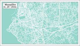 Marseille France City Map in Retro Style. Outline Map. Vector Illustration Royalty Free Stock Photography