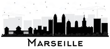 Marseille France City Skyline Black and White Silhouette. Vector Illustration. Simple Flat Concept for Tourism Presentation, Placard. Business Travel Concept Royalty Free Stock Photo