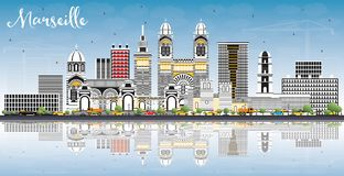 Marseille France City Skyline with Gray Buildings, Blue Sky and. Reflections. Vector Illustration. Business Travel and Tourism Concept with Historic Royalty Free Stock Photography