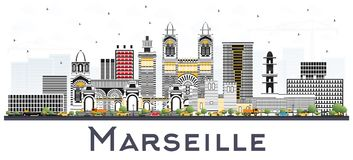 Marseille France City Skyline with Gray Buildings Isolated on Wh. Ite. Vector Illustration. Business Travel and Tourism Concept with Historic Architecture Royalty Free Stock Photography