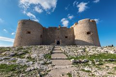 Facial pic of If Castle - Chateau d`If near Marseille, France. Marseille, France - December 4, 2016: Front view of the castle Chateau d`If where the Count of royalty free stock photo