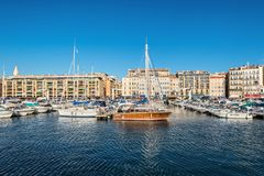 Colorful yacht harbour in old city of Marseilles, France. Marseille, France - December 4, 2016: Picturesque colorful yacht port in old center of Marseilles Royalty Free Stock Photos
