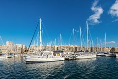 Colorful yacht harbour in old city of Marseilles, France. Marseille, France - December 4, 2016: Picturesque colorful yacht port in old center of Marseilles Royalty Free Stock Photo