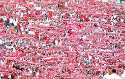 UEFA EURO 2016 game Ukraine v Poland. MARSEILLE, FRANCE - JUNE 21, 2016: Tribunes of Stade Velodrome with Polish supporters during UEFA EURO 2016 game Ukraine v Royalty Free Stock Images