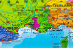 Marseille France map. Marseille in France pinned on colorful political map of Europe. Geopolitical school atlas. Tilt shift effect Stock Photography