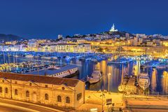 Marseille France. Marseille night city skyline at harbour, Marseille, France royalty free stock images