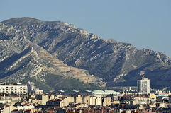 Marseille in France and the mountains behind Stock Photos