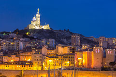 Marseille France night. Marseille, France at night. The famous european harbour view on the Notre Dame de la Garde Stock Photography