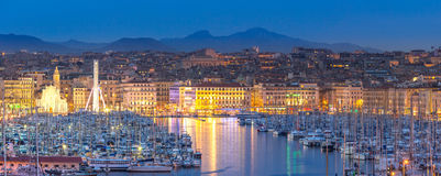 Marseille France night Royalty Free Stock Photos