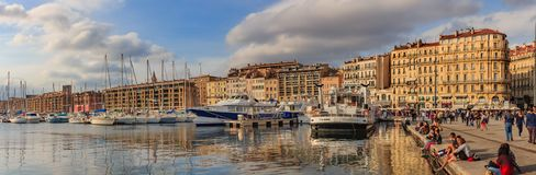Panoramic view of the old port harbor with docked yachts and col. Marseille, France - October 19, 2013: Panoramic view of the old port harbor with docked yachts stock photography