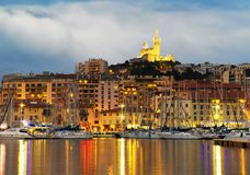 Marseille, France panorama at night. Royalty Free Stock Photos