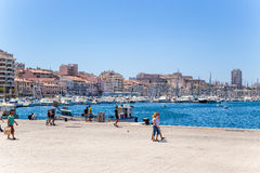 Marseille, France. Quays of the Old Port and Fort Saint-Nicolas Stock Image