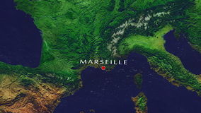 Marseille - France zoom in from space