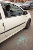 MARSEILLE, FRANCJA/- 03 20 2017 Samochodowego szkła jest brocken Zdjęcia Royalty Free