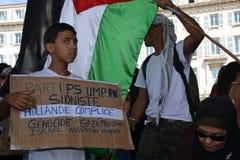 Marseille, Frankrijk - Augustus 9, 2014: De protesteerder verzamelt zich tijdens een demonstratie Royalty-vrije Stock Foto's