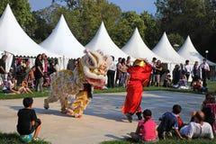 MARSEILLE FRANKRIKE - AUGUSTI 26: Kinesisk dans med draken. Marsei royaltyfri foto