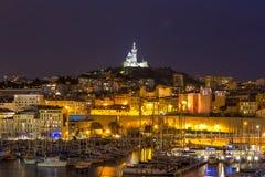 Marseille Frankrike natt Royaltyfri Bild