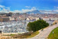 Marseille Frankrike panorama Arkivfoton