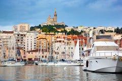 Marseille Frankrike panorama, berömd hamn. Arkivbild