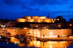Marseille Frankrike panorama på natten. Royaltyfri Foto