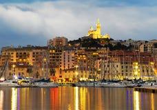 Marseille Frankrike panorama på natten Royaltyfria Foton