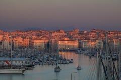 Marseille gammal port i det medelhavs- france Arkivfoton
