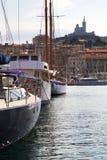 Marseille gammal port i det medelhavs- france Arkivfoto