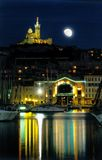 Marseille-Hafenmondnacht Lizenzfreies Stockfoto