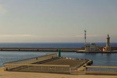 Marseille hamn - fyr Arkivfoto