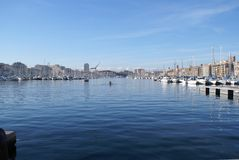 Marseille harbor. View in perspective of the Harbor of Marseilles in the South East of France Stock Photo