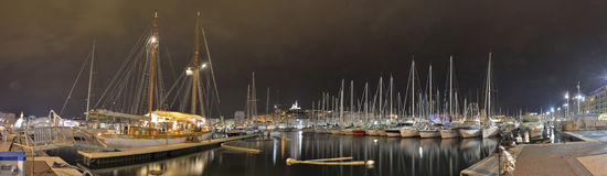Marseille harbor at night Royalty Free Stock Image