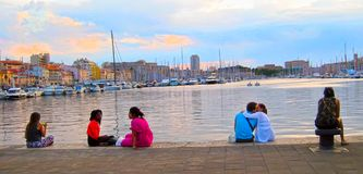 MARSEILLE - JULY 2, 2014: Old port (Vieux-Port) with people sitt Royalty Free Stock Image