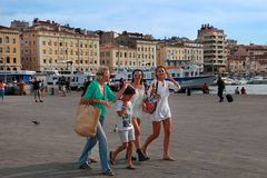 MARSEILLE - JULY 2, 2014: Old port (Vieux-Port) with people walk Stock Photography