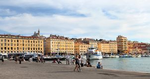 MARSEILLE - JULY 2, 2014: Old port (Vieux-Port) with people walk Stock Photos