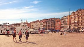 MARSEILLE - JULY 2, 2014: Old port (Vieux-Port) with people walk Royalty Free Stock Photo