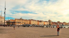 MARSEILLE - JULY 2, 2014: Old port (Vieux-Port) with people walk Royalty Free Stock Images