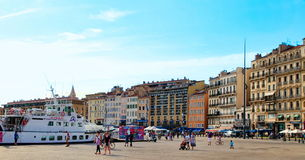 MARSEILLE - JULY 2, 2014: Old port (Vieux-Port) with people walk Stock Photo