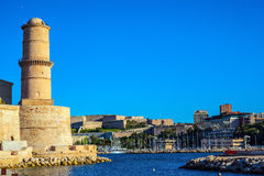 Marseille -  large port in the south of France. Fort St. John - old buildings to protect the old city port Royalty Free Stock Images