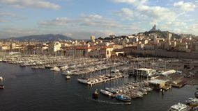 Marseille - le vieux port -  Look from the fortess stock photo