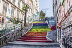 Marseille miasta ulic schodków kolory zdjęcia stock