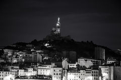 Marseille by night France Bonne Mere. Vieille dame black and white Royalty Free Stock Photo