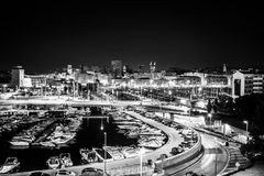 Marseille by night France Harbor Vieux Port city Royalty Free Stock Photo