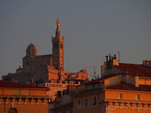 Marseille Noter Dames at sunset Stock Photo