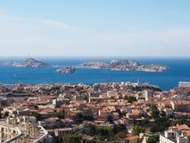 Marseille och hav Arkivfoto