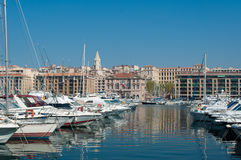 Marseille old port view. Marseille is the second largest city in France Royalty Free Stock Image