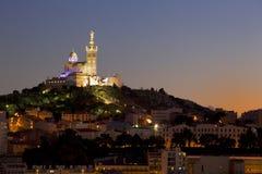 Marseille på skymning Arkivbild