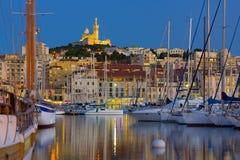 Marseille port på en natt Royaltyfria Foton