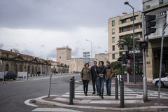 Marseille residents crossing street. Royalty Free Stock Photos