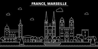 Marseille silhouette skyline. France - Marseille vector city, french linear architecture, buildings. Marseille travel. Marseille silhouette skyline. France Royalty Free Stock Photography