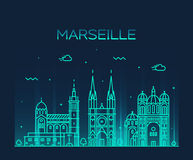 Marseille skyline silhouette linear style vector Royalty Free Stock Image